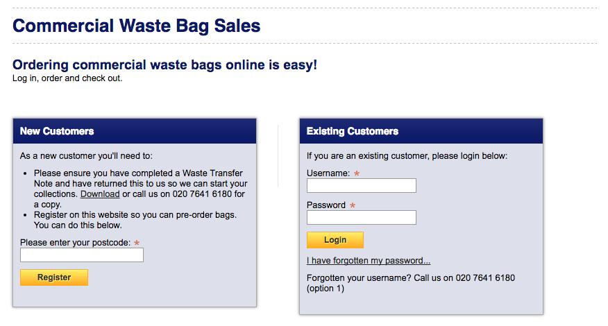 westminster waste bag ordering portal