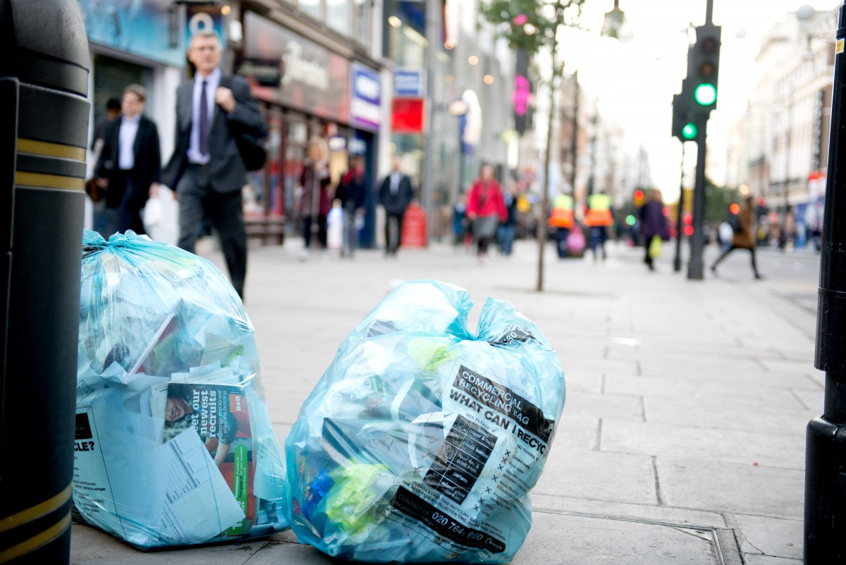 Blue Westminster recycling bags