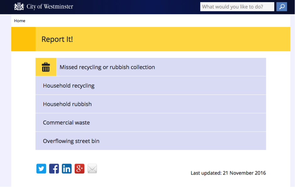 missed rubbish collection