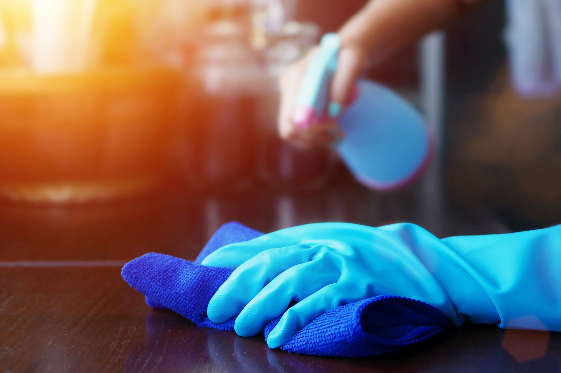 disinfecting contaminated work surfaces